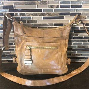 Tignanello tan crossbody leather hobo bag